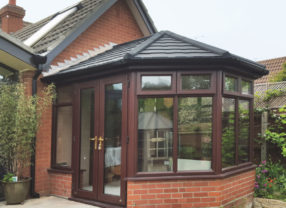 black tiled conservatory roof
